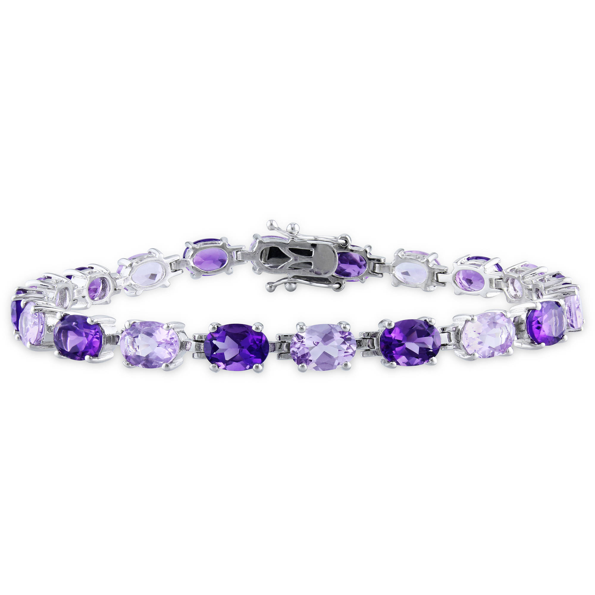 "14-1 2 Carat T.G.W. Africa Amethyst and Rose de France Sterling Silver Fashion Bracelet, 7.25"" by Generic"