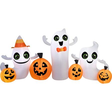 gemmy airblown inflatable 4 x 9 pumpkin and ghost halloween decoration