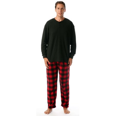 #followme Mens PJ Set - Fleece Pajama Bottom w/ Thermal Top