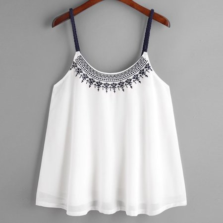 Women Sleeveless Tank Tops Embroidered Chiffon Cami Top Blouse S