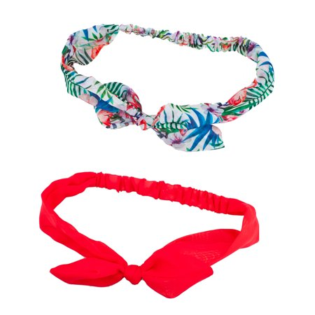 Lux Accessories Floral Flower Red Summer Hair Bow Tie Chiffon Headwrap Set 2PC](Chiffon Bows)