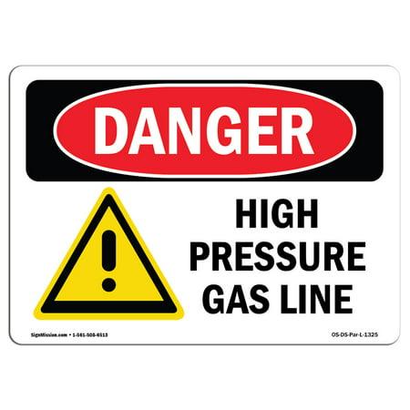 OSHA Danger Sign - High Pressure Gas Line 5