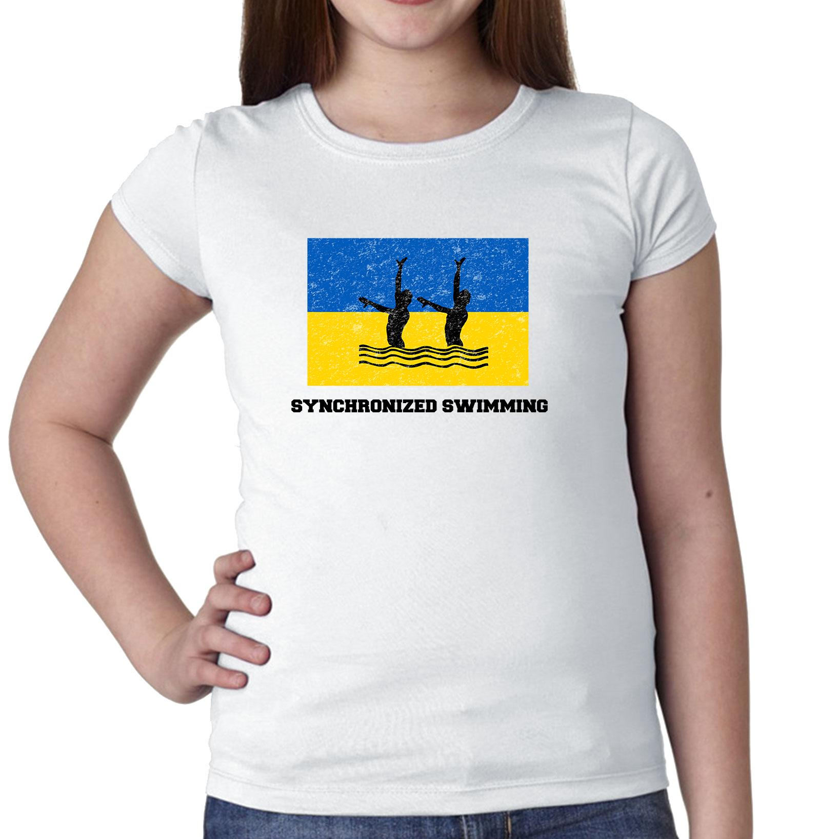 Ukraine - Olympic - Synchronized Swimming - Flag - Silhouette Girl's Cotton Youth T-Shirt