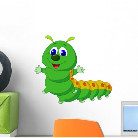 Cute Caterpillar Cartoon Wall Decal Sticker by Wallmonkeys Vinyl Peel and Stick Graphic (12 in W x 11 in H)