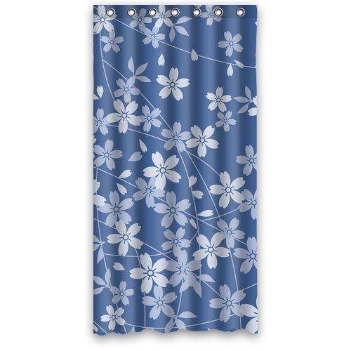 GreenDecor Blue Cherry Blossom Waterproof Shower Curtain Set with Hooks Bathroom Accessories Size 36x72 inches