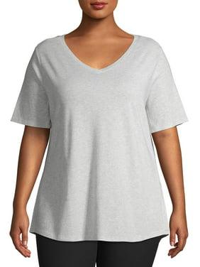 Terra & Sky Women's Plus Size Short Sleeve V-Neck Tee