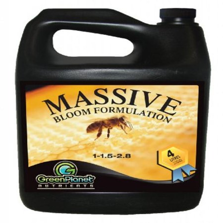 Green Planet Nutrients - Massive (4 Liters) - Bloom Stimulator (1-1.5-2.8) - An Unique Blend of Vitamins, Minerals and Growth Stimulants - High Performance Flowering Additive with Organic Components