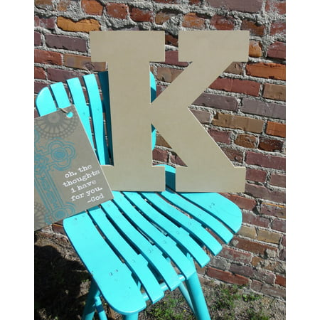 Wooden Hanging Letters Block (Wood Letter, Block Wooden Letter K 18'', Unfinished Wall Hanging )