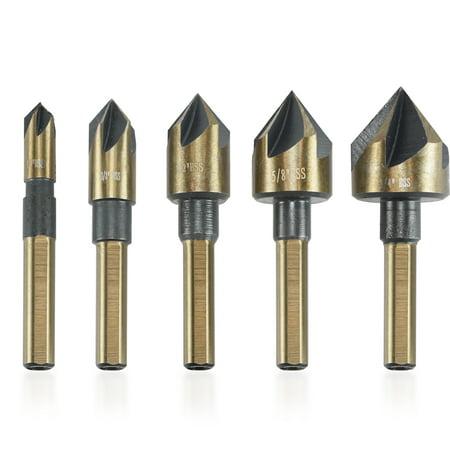 Neiko 10218A Woodworking 1/4-Inch Countersink Bit Set | Tri-Flat - Tri Cut Bit