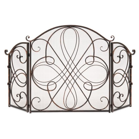 Best Choice Products 3-Panel Solid Wrought Iron See-Through Metal Fireplace Safety Screen Protector Decorative Scroll Spark Guard Cover - Antique Bronze Brass Contemporary Fireplace Screen