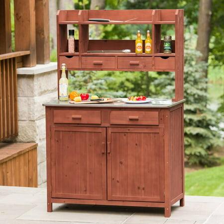 Leisure Season Outdoor Kitchen Prep Station, Medium Brown (Grill Prep Station)