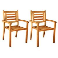 ALK Brands - Patio Outdoor Hardwood Stacey Stackable Arm Chairs, set of 2
