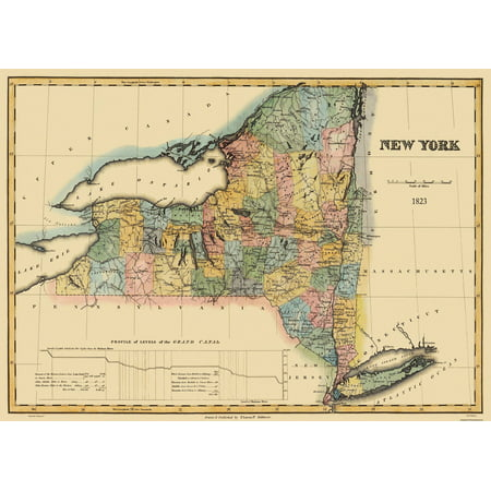 State Map Of New York.Old State Map New York Lucas 1823 32 X 23 Walmart Com