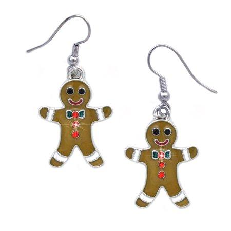 cocojewelry Gingerbread Man Cookie Charm Earrings Gift for Bakers Tree Charm Earrings