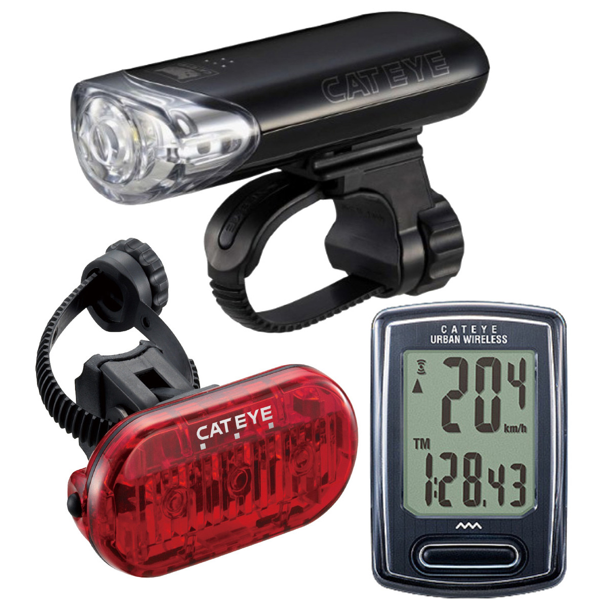CatEye EL140/LD135/VT240W Bicycle Light/Computer Combo Kit - 8901040
