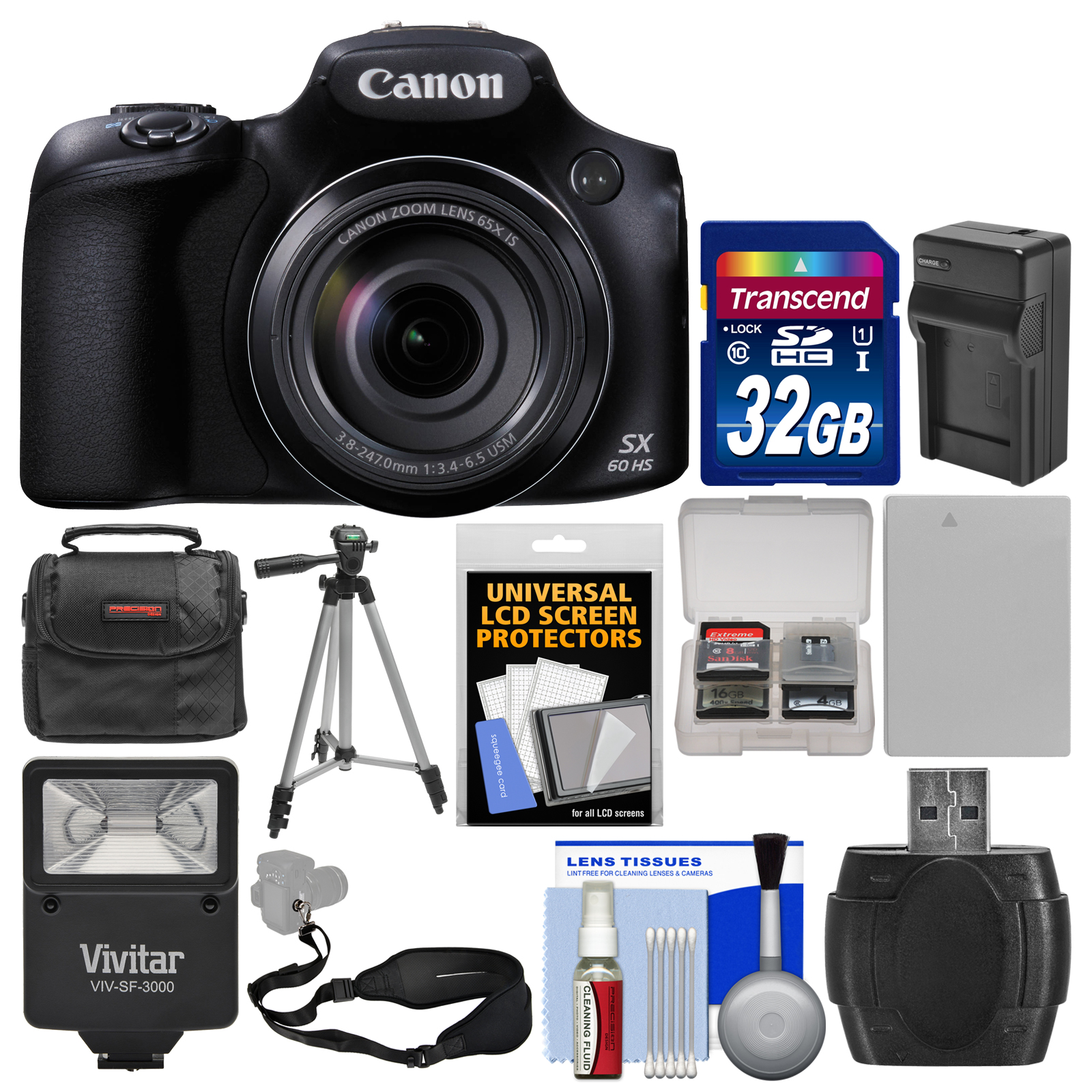 Canon PowerShot SX60 HS Wi-Fi Digital Camera with 32GB Ca...