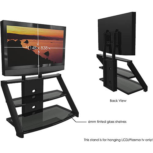 Black Glass Tv Stand With Mount For Tvs Up To 60 Walmart Com