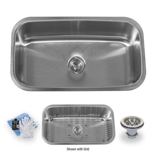 """Miseno MSS3219C 32"""" Undermount Single Basin Stainless Steel Kitchen Sink - Drain"""