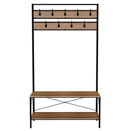 Topeakmart Universal Shoe Bench with Coat Rack Vintage Iron Hall Tree Storage Organizer for