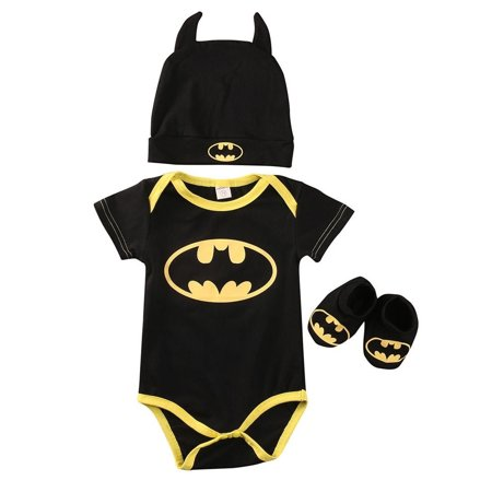 Baby Batman Outfit (Newborn Baby Boy Batman Short Sleeve Romper Bodysuit+Shoes+Hat Clothes 3Pcs Outfits Set)