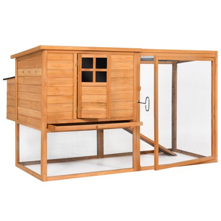 Best Choice Products Outdoor Wooden Chicken Coop Nesting Hen House, 66in, Brown, with Poultry