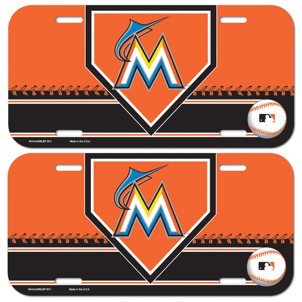 Miami Marlins WinCraft 2-Pack License Plates - No Size