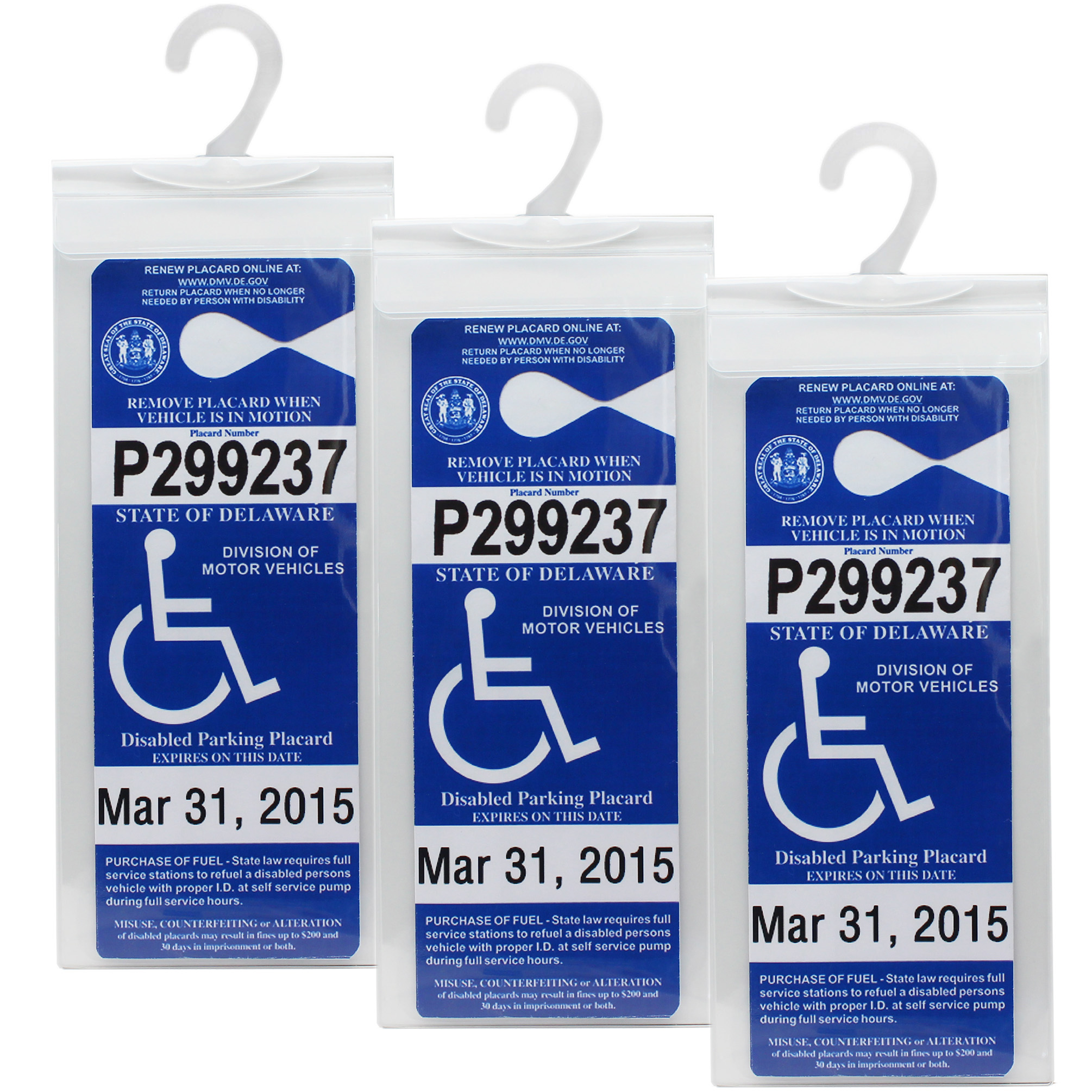 LotFancy 3 PCS Handicap Parking Permit Holder - Disabled Parking Placard Protector Sleeve with Large Hook - Plastic Mirror Tag Hanger