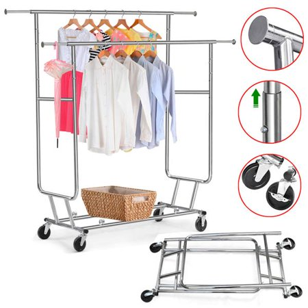 Yaheetech Commercial Grade Rolling, Collapsible Garment Rack