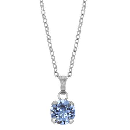 - X & O Rhodium Plated 8mm Prong Set Light Sapphire Swarovski Pendant Necklace