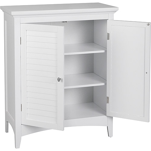 Captivating Elegant Home Fashions Sicily Floor Cabinet With 2 Shutter Doors, White