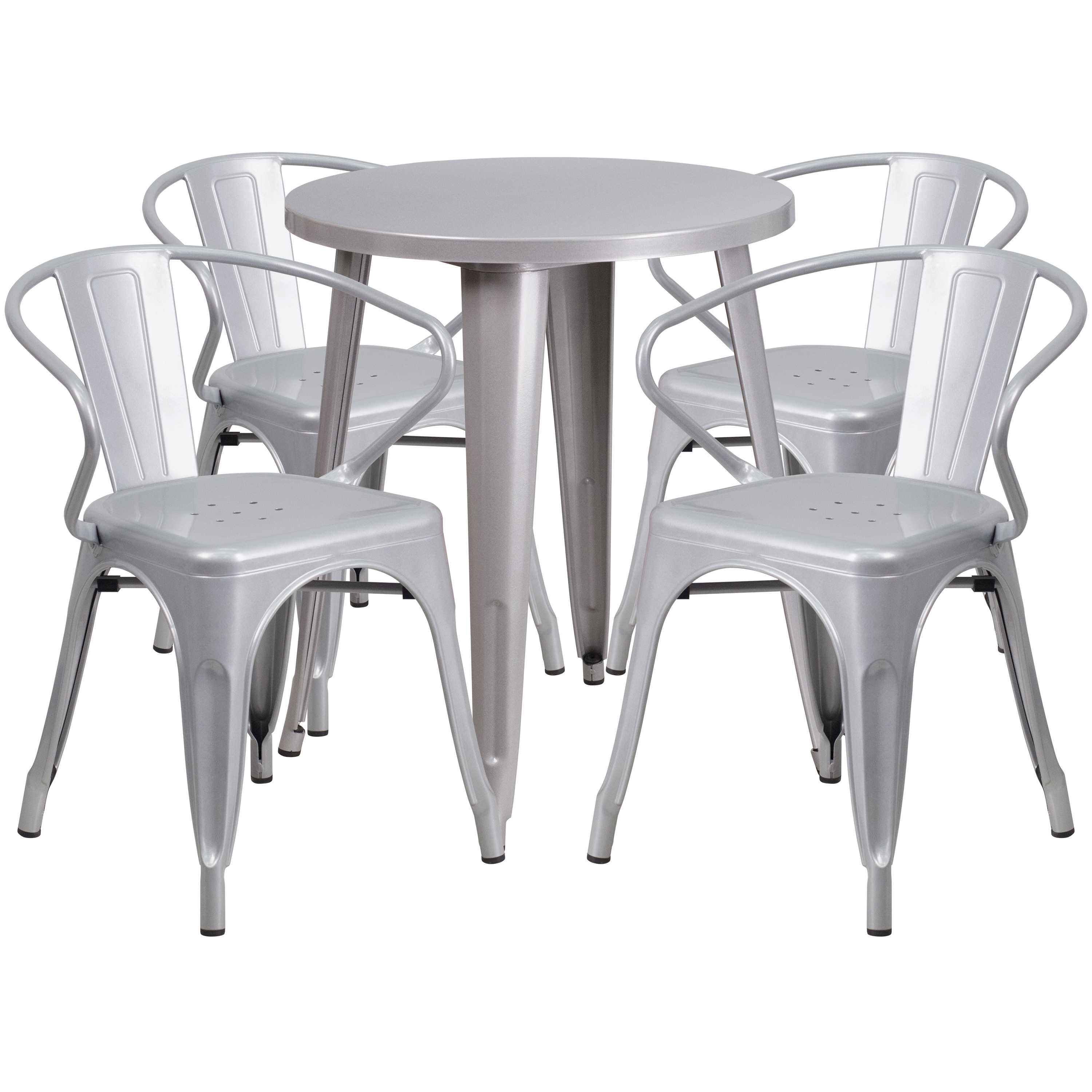 """Flash Furniture 24"""" Round Metal Indoor-Outdoor Table Set with 4 Arm Chairs, Multiple Colors"""