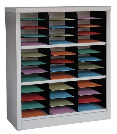 GRAINGER APPROVED Horizontal Literature Organizer 36 Compartments, Tan, 5CRY4 by VALUE BRAND
