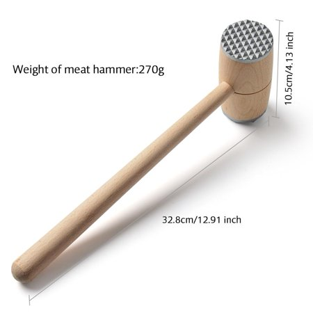 Walfront Two Sides Wood Meat Hammer Mallet Pounder For Tenderizing Steak Beef Practical Kitchen Tool Wood Meat Hammer Meat Tenderizer
