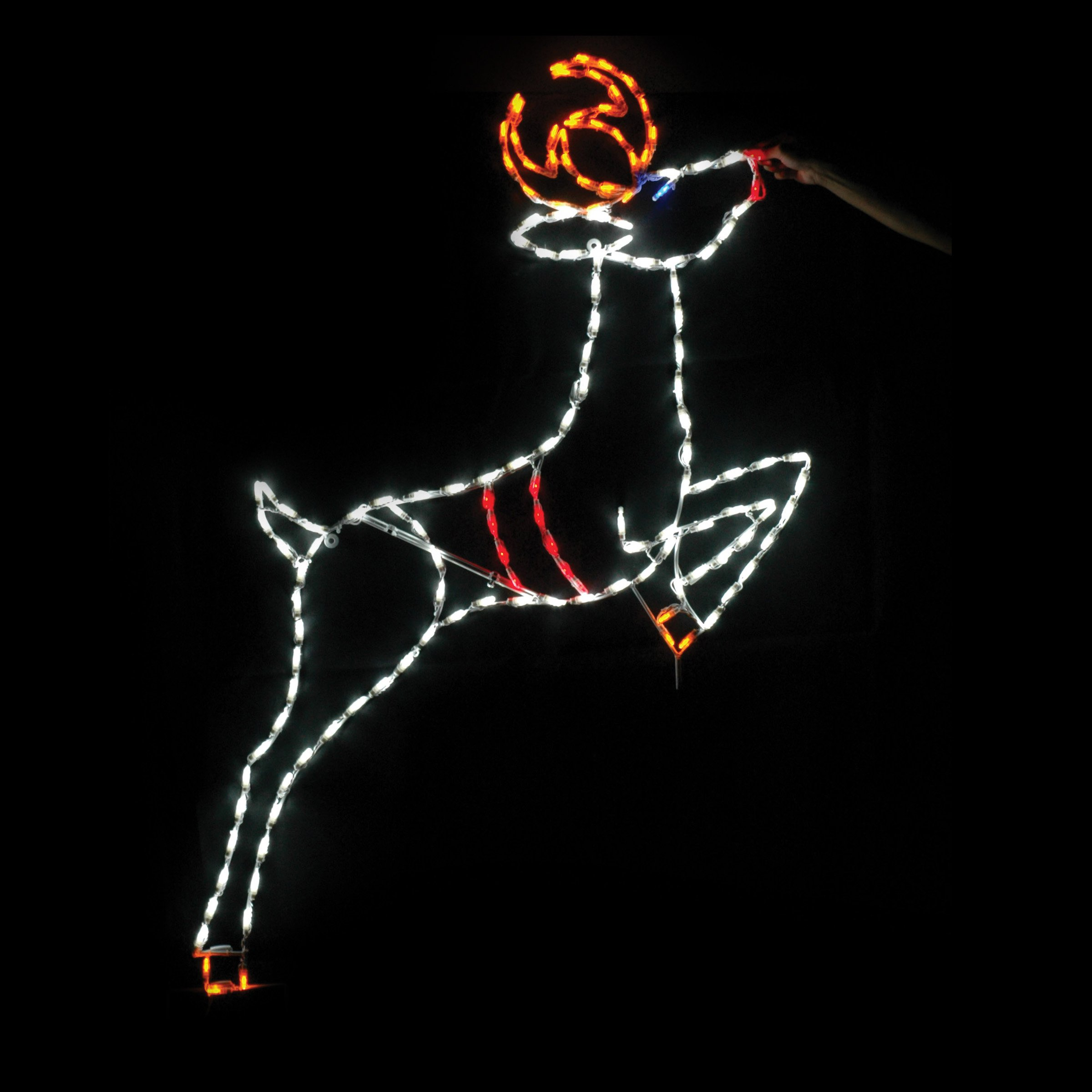 69 in. Outdoor LED Leaping Reindeer Lighted Display - 150 Bulbs