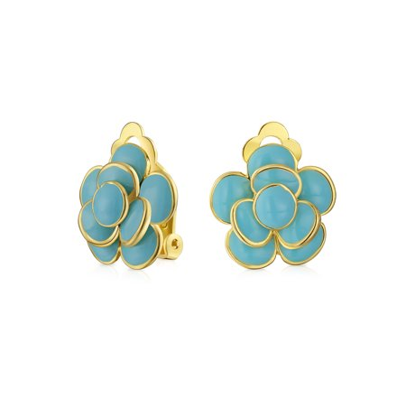 Enamel Rose Flower Clip On Earrings Button Style Non Pierced Ears 14k Gold Plated Brass Simulated Turquoise Blue or Red
