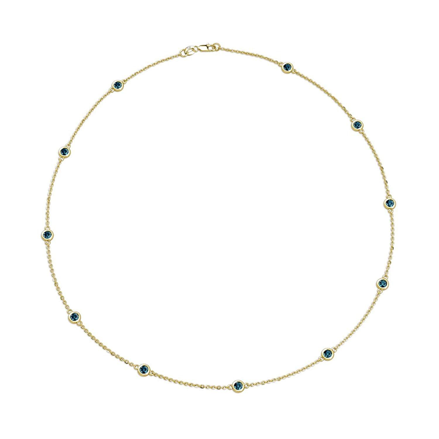11 Station Blue Diamond on Cable Necklace 0.75 Carat tw in 14K Yellow Gold.18 Inches in Length by TriJewels