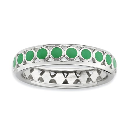 Circle Green Ring - Stackable Expressions Sterling Silver Polished Green Circles Enameled Ring - Size 10