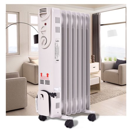 Costway 1500W Electric Oil Filled Radiator Space Heater 5-Fin Thermostat Room Radiant