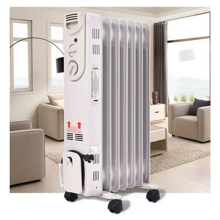 Costway 1500W Electric Oil Filled Radiator Space Heater 5-Fin Thermostat Room (Best Portable Electric Heater For Large Room)