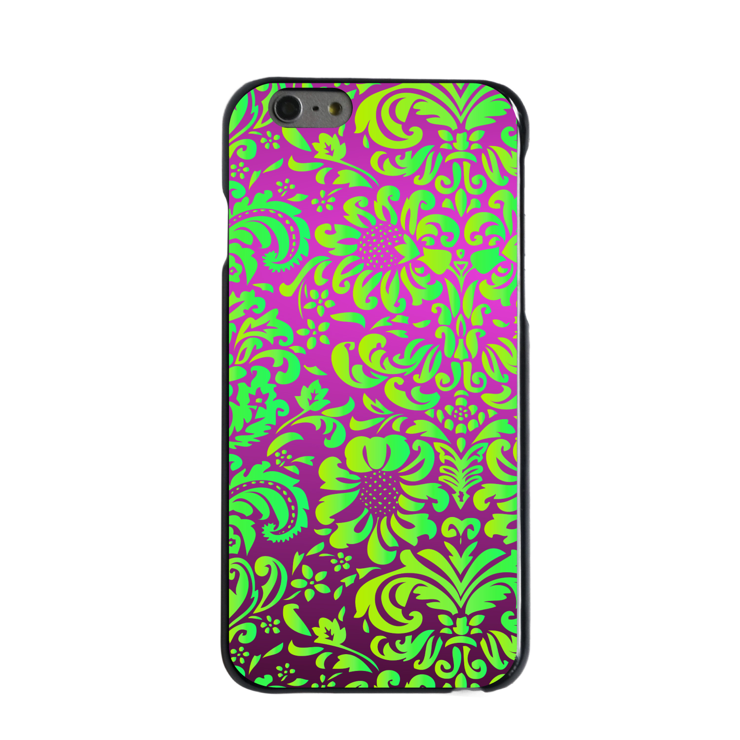"CUSTOM Black Hard Plastic Snap-On Case for Apple iPhone 6 PLUS / 6S PLUS (5.5"" Screen) - Purple Green Floral Pattern"