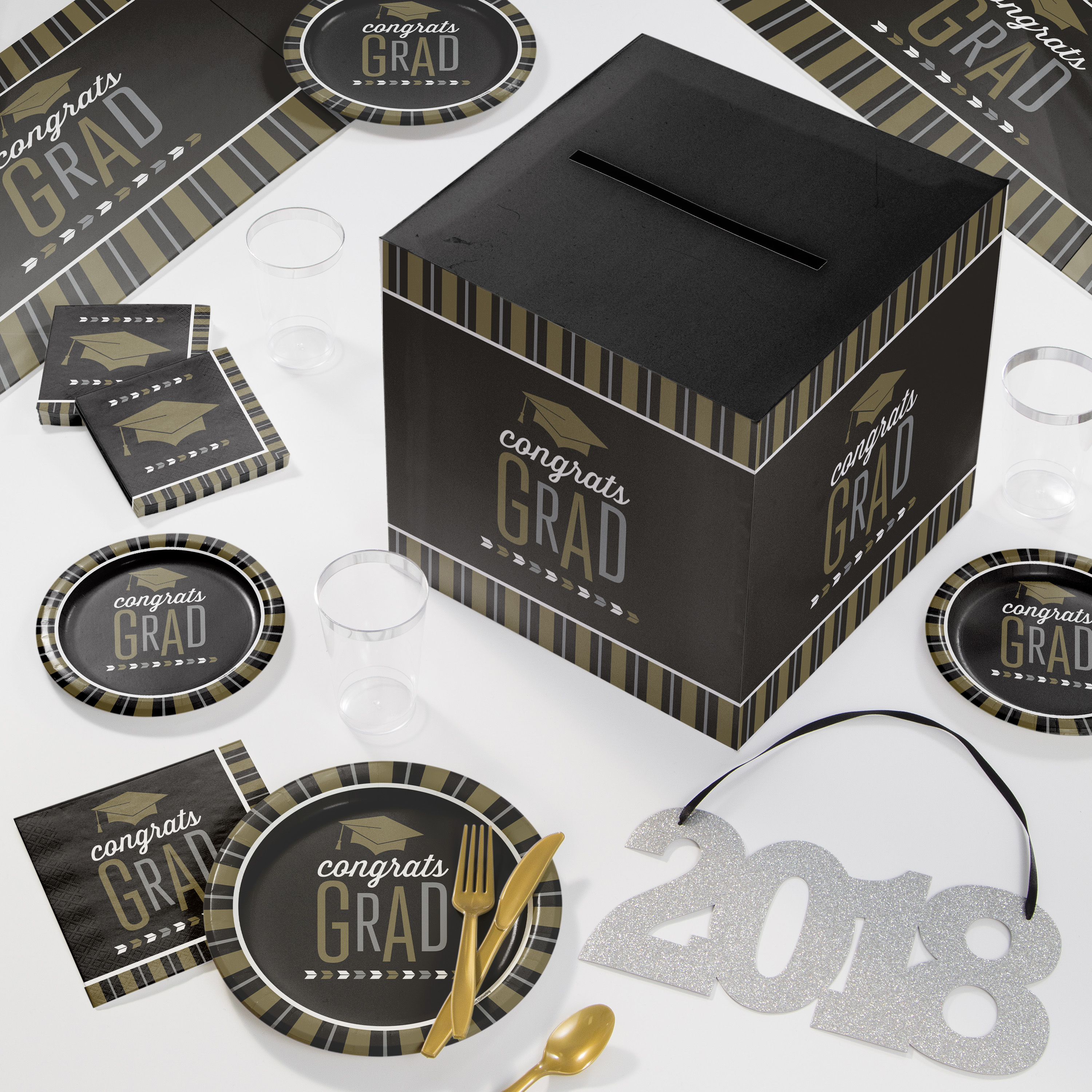 Large Silver and Gold Glitz Graduation Deluxe Party Supplies Kit