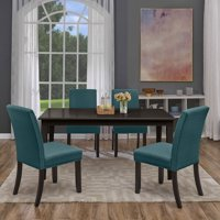 Homesvale Samos 5-piece Rectangular Dining Set with Blue Linen Chairs