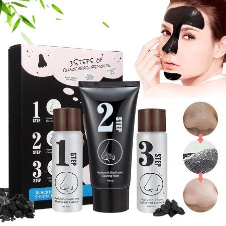 Luckyfine Blackhead 3 Step Skin Care Peeling Off korean Mask, Pore Cleanser Shrinking Black Head Remover