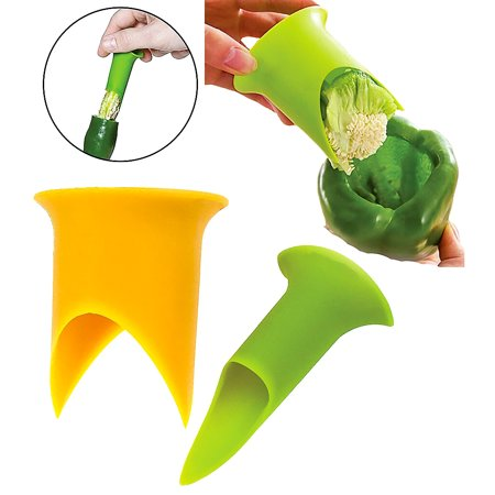 2 pcs Pepper Corer Twist to Core & Seed Stuffed Bell Chili Jalapeno Cut Small Large Tomato Slice Remover Bright (Grilled Stuffed Jalapeno Peppers Wrapped In Bacon)