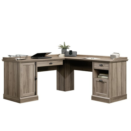 Sauder Barrister Lane L-Shaped Desk, Salt Oak - Shaped Crystal Desk