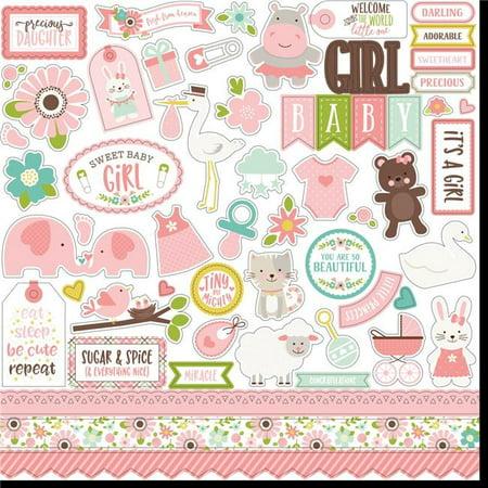 """Sweet Baby Girl Cardstock Stickers 12""""X12""""-Elements"""