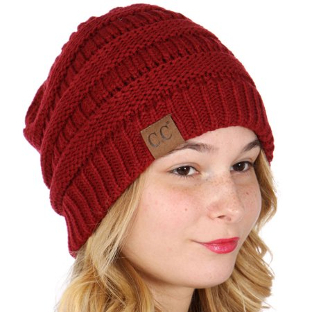 Cuffed Ribbed Beanie Hat (C.C Women Red Logo Detail Knit Ribbed Cuff Fall Trendy Winter Beanie Hat )