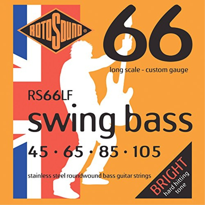 Click here to buy Rotosound RS66LF Swing Bass 66 Stainless Steel Bass Guitar Strings (45 65 85 105).