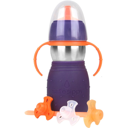 The Safe Sippy 2 - Stainless Steel 2-in-1 Sippy to Straw Bottle, Purple