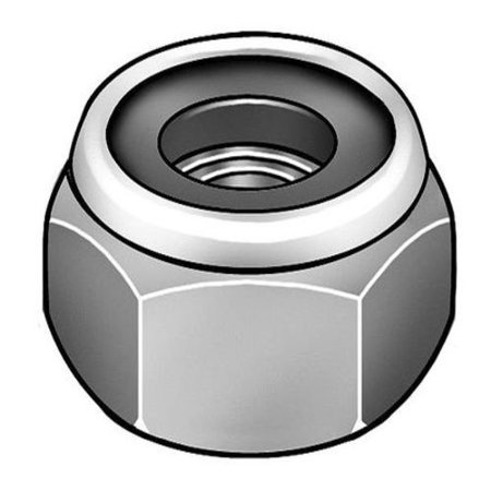 10-32 Grade 2 Chrome Plated Finish Low Carbon Steel Nylon Insert Lock Nut, 5 pk. Chrome Plated Insert